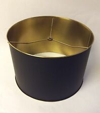 "Luxury Metal Matte Black Gold Brass Drum Lamp Shade 12.25"" Retail $440"