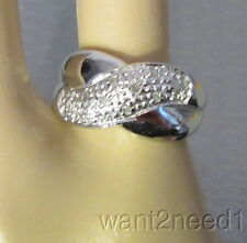 sterling silver 10-stone DIAMOND TEXTURED CROSSOVER BAND RING sz 7 signed JS 925