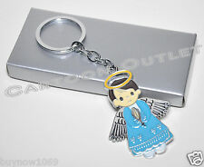 12 pc BAPTISM FAVORS GIFTS KEY CHAINS ANGEL BOY BLUE BAUTIZO LLAVEROS RECUERDOS