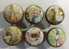 Handcrafted Beatrix Potter Peter Rabbit & Friends Decoupage 4cm Drawer Knobs x 6