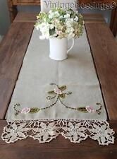"Victorian Arts Crafts LINEN Antique Runner 55"" Embroidery Lace"