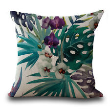 Vintage Flower Tropical Leaves Waist Throw Pillow Case Cushion Cover Home Deco D