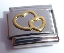GOLD DOUBLE HEART Italian Charm - fits 9mm Classic Bracelets - I Love You Hearts