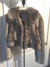"""NWT"" FAUX FUR SHORT FLOUNCE JACKET JUICY COUTURE SABLE"