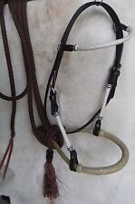 Bitless Show Hackamore Rawhide Bosal Mecate NICE Complete Set New Horse Tack