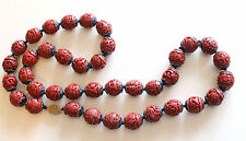 Antique Chinese Carved Cinnabar Red Enamel Silver Seads Necklace Strand