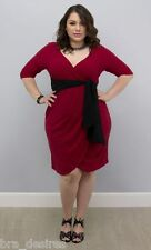 NWOT KIYONNA 2X Womens RED Harlow Faux Wrap Cocktail Sexy Knee Dress Plus
