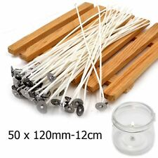 50pcs 12cm Pre Waxed Wicks For Candle Making With Sustainers Cotton Coreless UK