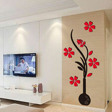 Beautiful Flower DIY Mirror Wall Decals Stickers Art Home Room Vinyl Decor WW-A