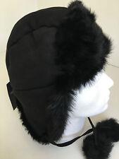 "Paul Smith ""MAINLINE"" SIZE L Black 100% SHEEPSKIN Trapper Hat Tie up Ear Flaps"