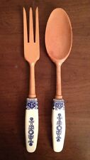VTG LARGE WOODEN FORK & SPOON WHITE & BLUE PORCELAIN HANDLES KITCHEN WALL DECOR