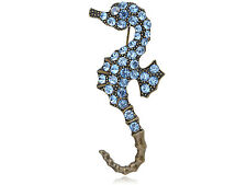 Antique Sapphire Blue Diamante Rhinestone Sea Horse Fashion Pin Brooch SU