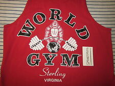 WORLD GYM WEIGHTLIFTING BODYBUILDING EXERCISE RED TANK TOP T-SHIRT Mens M SHORT