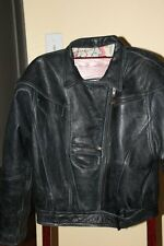 Vintage early 90s Black Leather Jacket  -size Medium- EXCELLENT moto-styling