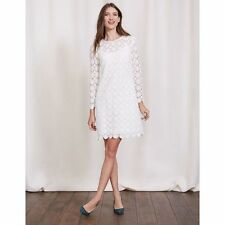 BODEN WW132 White Floral Crochet Lace Long Sleeve Dress With Slip - Sz XL