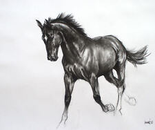'Black III' horse art LE charcoal print mounted ready to frame by H Irvine