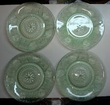 "Tiara - Sandwich - Chantilly Green - Indiana Glass – 10 ¼"" Dinner Plates - 4 ea."