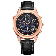 MEGIR 2013 Men Double Sided Display Chronograph Calendar Leather Quartz Watch