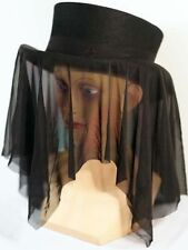 Steam-punk-Gothic-Whitby-Black Mesh HAT BAND Brilliant Top Hat Accessory