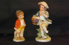 Boy & Little Brother Figurines Georgian Period Dress Porcelain Bisque