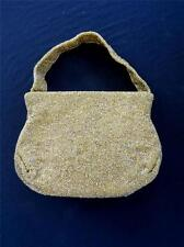"""VINTAGE """"JOSEF"""" FRENCH 1950'S-1960'S GOLD BEADED EVENING BAG  9""""L X 7""""H X 2""""W"""