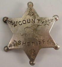 County Sheriff Star Eagle Or Hawk Symbol Old Western Badge Pin Bw-52