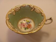 Vintage Paragon Coffee Tea Cup China Potters Green with Gold Leaf Filigree