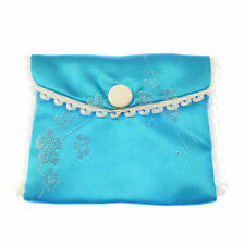 Blue fabric embroidered rosary beads purse bag button stud fastener 8cm silky