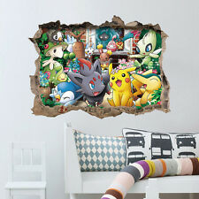 Pokemon Go Game Wall Sticker Pikachu Decal 3D Kid's Room Decoration 2016 Fashion