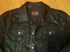 LEVI BLACK LEATHER TRUCKER JACKET L denim lvc vtg
