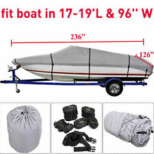 "17 18 19 Ft Waterproof Trailerable V-Hull Boat Cover 95"" Beam Heavy Duty Fabric#"