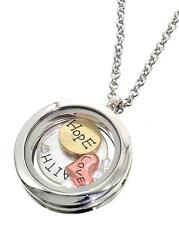 Round Floating Charms Locket Words Love Hope Faith Fashion Necklace