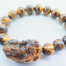 Elegant Chinese Natural Yellow Tiger's Eye Stone 10mm Beads & Pixiu Bracelet