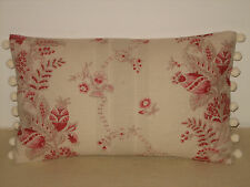 """NEW Kate Forman Beatrice Red Linen Fabric 20""""x12"""" Pom Pom Trim Cushion Cover"""