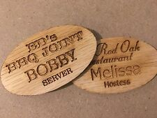 2X3 EMPLOYEE PERSONALIZED OAK WOOD NAME TAG BADGE WITH MAGNET  IDENTIFICATION