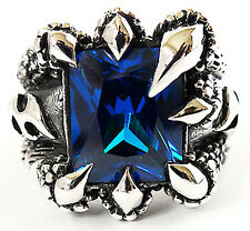 BLUE SAPPHIRE DRAGON CLAW STERLING 925 SILVER MENS RING Sz 9.5