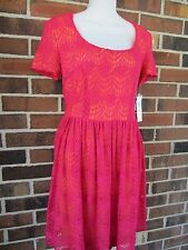 NWT 10 Petite Red Orange Crochet Dress London Times Keyhole Back Short Sleeve