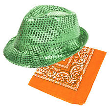 St patrick's day green sequin fedora chapeau & orange bandana fancy dress