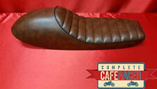 LS4 CAFE RACER BROWN LEATHERETTE BLACK TRIM SEAT PAD & HUMP FLAT TRACKER BRAT