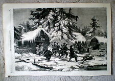 Bear - Hunting in Sweden  --  Antique print from the Illus. London News, 1856