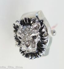 Strada Lion Head Ring Watch Crystals Silver Tone