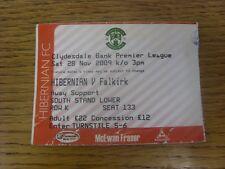 28/11/2009 Ticket: Hibernian v Falkirk [Green Ticket] (folded, creased).  Thanks