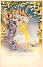Froehliche Weihnachten! Christmas! Angel, cherubs, violin music, Falling Star