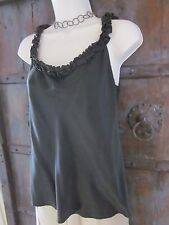 Yoana Baraschi Women's Steel Gray Silk Tank Top with Ruffled Trim Size LARGE L