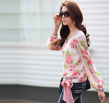 New Chiffon Womens T Shirt Floral Print Long Sleeve Blouse Casual Tops Size S