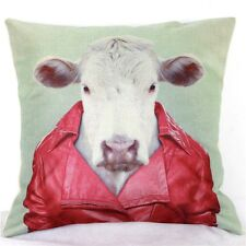 Home Decor Work Cotton Linen Cow Red Man Cushion Cover Pillow Sofa 45cm