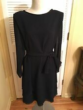 After Dark Crepe Satin Dress Black Size 20 With Sash Tiered Hemline