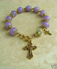 Genuine Lavender Jade Crystal Antique Gold Rosary Bracelet