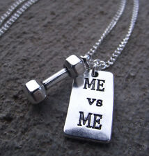 DUMBBELL WEIGHT + ME vs ME Charm Chain Necklace Fitness Weightlift Gym CROSSFIT