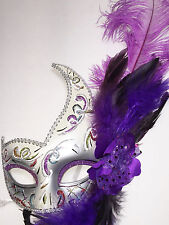 New Sexy Purple Mardi Gras New Orleans Mask Feathers Venetian Masquerade (R1804)